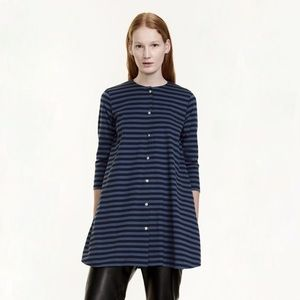 Marimekko Tuike Dark Blue Striped Dress XS